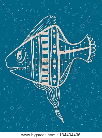 Greeting Beautiful card with fish. Frame of animal made in vector. Ethno Style. Fish Illustration for design, pattern, textiles. Hand drawn map with sia
