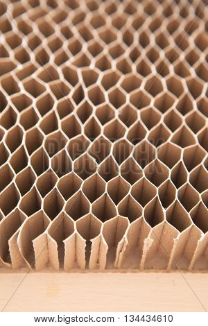 Honeycomb Cardboard. Geometric Background With Copyspace. Recyclable Kraft Paper Cardboard.