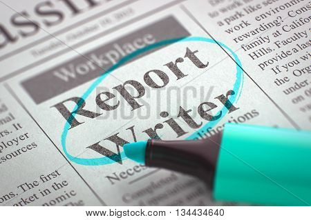 Newspaper with Small Advertising Report Writer. Blurred Image with Selective focus. Job Seeking Concept. 3D.