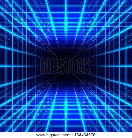 Blue dimensional grid space on black background