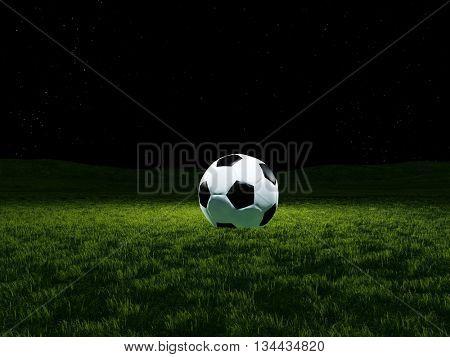 Football ball on grass.3D rendering