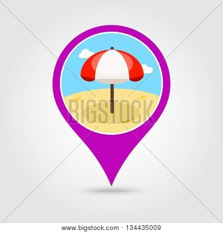 Beach Parasol vector pin map icon. Map pointer. Summer Map markers. Holiday. Summertime. Vacation eps 10