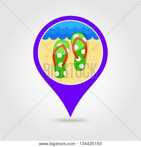 Flip Flops vector pin map icon. Beach Map pointer. Summer Map markers. Holiday. Summertime. Vacation eps 10
