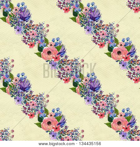 Floral seamless watercolor pattern. Diagonal Rows of flowers. Floral garland. Wildflowers and briar rose seamless hand drawn background. Floral illustration