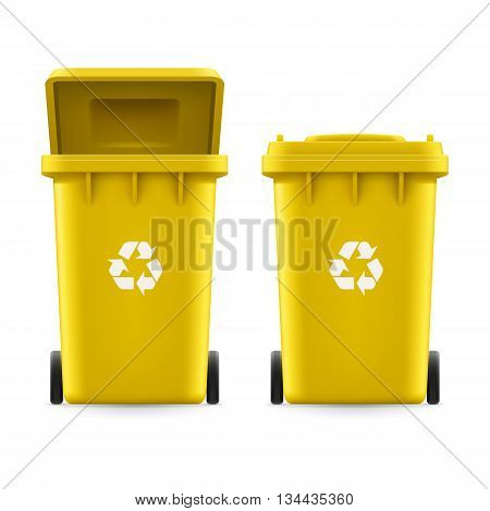 Set of yellow buckets for trash with sign arrow