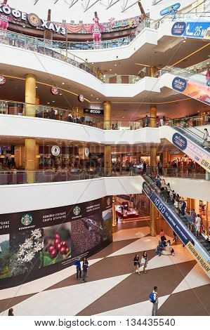 SAINT PETERSBURG, RUSSIA - CIRCA JULY, 2015: inside of Galeria shopping center. Galeria is major shopping and entertainment center is located in downtown of St. Petersburg
