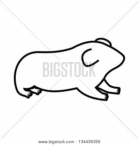 Hamster icon in outline style isolated on white background