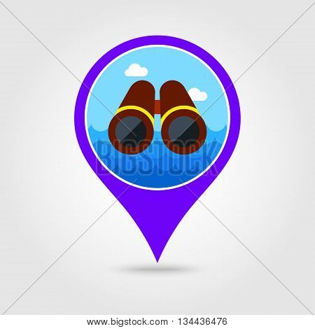 Binoculars vector pin map icon. Beach Map pointer. Summer Map markers. Holiday. Summertime. Vacation eps 10