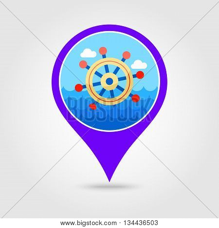 Helm vector pin map icon. Map pointer. Summer Map markers. Holiday. Summertime. Marine eps 10