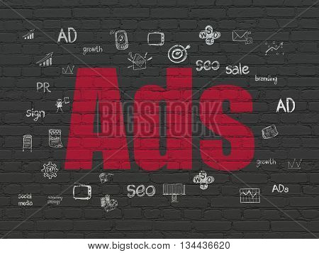 Advertising concept: Painted red text Ads on Black Brick wall background with  Hand Drawn Marketing Icons