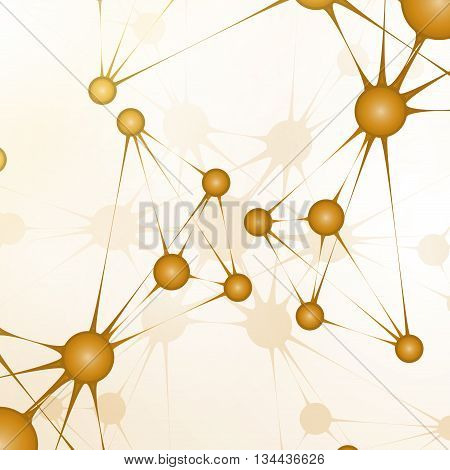Futuristic dna, abstract molecule, cell illustration, art concept