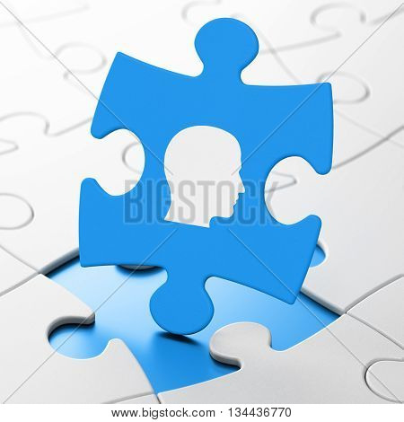 Advertising concept: Head on Blue puzzle pieces background, 3D rendering