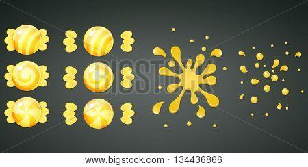 Yellow lemon candy with splash animation set