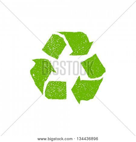 Vector sign recycling. Grunge recycling logo with scuffed and fine texture