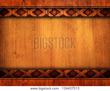 wooden template with carving pattern