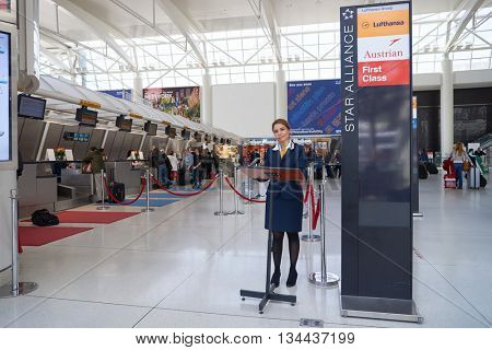 NEW YORK - APRIL 06, 2016: check-in area of Lufthasa in JFK Airport.  Lufthansa, is the largest German airline and, when combined with its subsidiaries, also the largest airline in Europe.