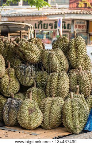 Durian on stall in Huay Kwang market Bangkok