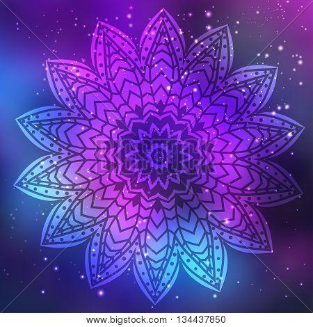 Ornament invitation card with mandala. Geometric circle element made in vector. Mandala for decoration holiday cards, background and sites. Kaleidoscope, medallion, yoga, India, arabic
