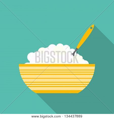 Breakfast Cereal Oatmeal, Icon in Modern Flat Style Vector Illustration EPS10