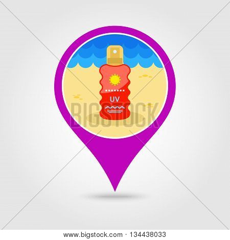 Sun Cream in Spray vector pin map icon. Beach Map pointer. Summer Map markers. Holiday. Summertime. Vacation eps 10