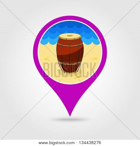 Drum vector pin map icon. Beach Map pointer. Summer Map markers. Holiday. Summertime. Vacation eps 10