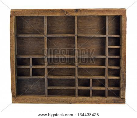 vintage wooden typesetter case (drawer) or shadow box isolated on white