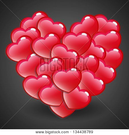 Red Glossy Heart Emblem on Dark Background