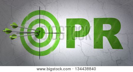 Success marketing concept: arrows hitting the center of target, Green PR on wall background, 3D rendering