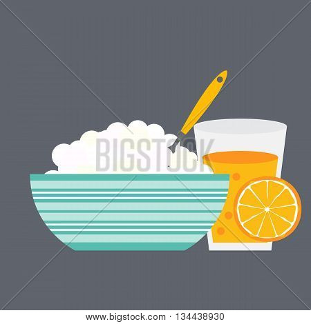 Breakfast Cereal Oatmeal and Orange Juice, Icon in Modern Flat Style Vector Illustration EPS10