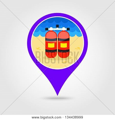 Oxygen tank vector pin map icon. Beach Map pointer. Summer Map markers. Holiday. Summertime. Vacation eps 10