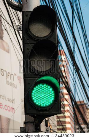 BANGKOK THAILAND - MAY 2 2016 : green traffic light signal in Bangkok