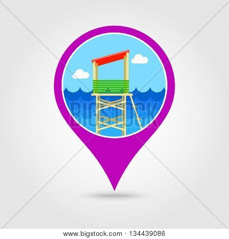 Lifeguard tower vector pin map icon. Beach Map pointer. Summer Map markers. Holiday. Summertime. Vacation eps 10