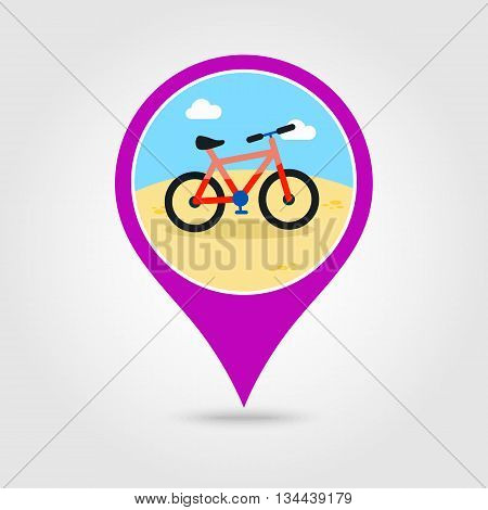 Bicycle vector pin map icon. Beach Map pointer. Summer Map markers. Holiday. Summertime. Vacation eps 10