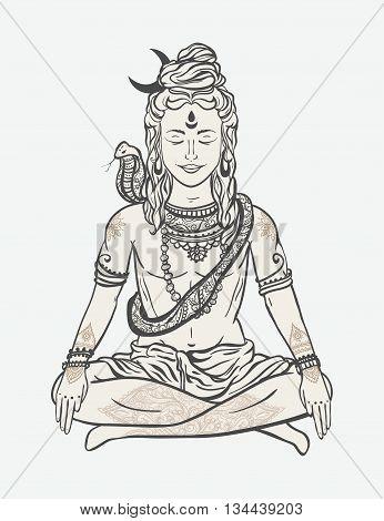 Ornament beautiful card with God Shiva. Illustration of Happy Maha Shivaratri. Mahashivaratri festival. Hinduism in India. Mediation, ornament illustration