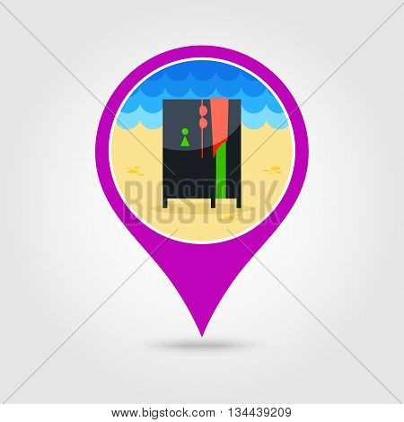 Cloakroom on the beach vector pin map icon. Beach Map pointer. Summer Map markers. Holiday. Summertime. Vacation eps 10