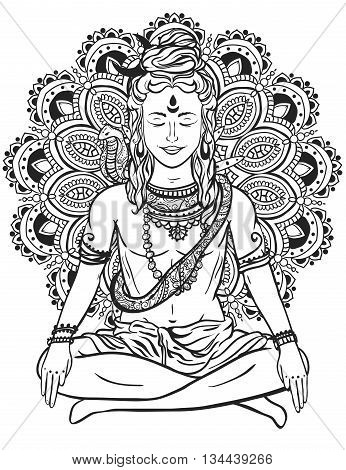 Ornament beautiful card with God Shiva. Illustration of Happy Maha Shivaratri. Mahashivaratri festival. Hinduism in India. Mediation, ornament illustration