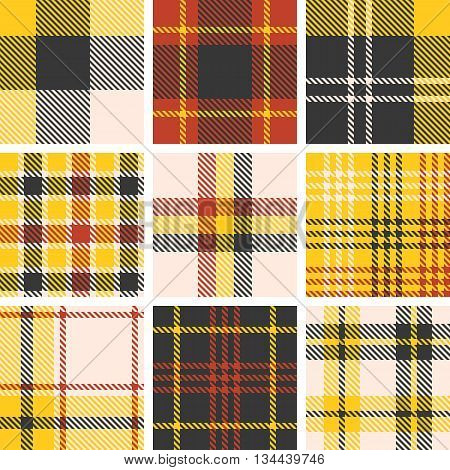 set of tartan seamless pattern, checkered pattern, plaid pattern, vintage style set 2