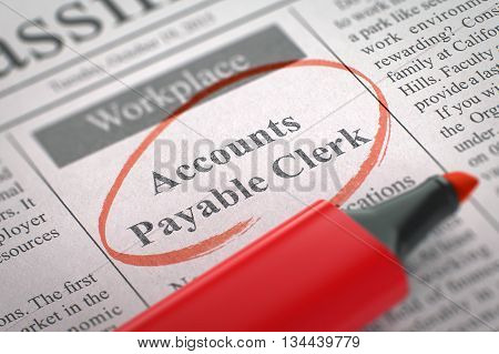 Newspaper with Classified Advertisement of Hiring Accounts Payable Clerk. Blurred Image with Selective focus. Job Seeking Concept. 3D Rendering.