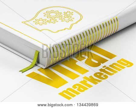 Advertising concept: closed book with Gold Head With Gears icon and text Viral Marketing on floor, white background, 3D rendering
