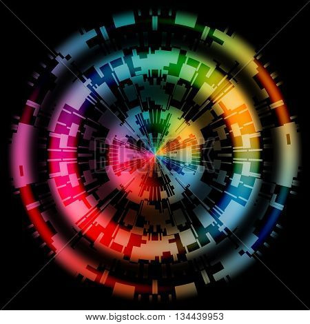 Abstract Technology Rainbow Color Wheel Design on Black Background