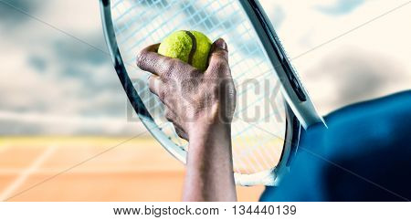 Tennis player holding a racquet ready to serve against composite image of tennis net