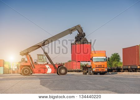 Forklift Handling Container Loading Box