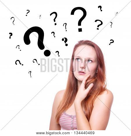 pensive young woman with question or interrogation marks above her head