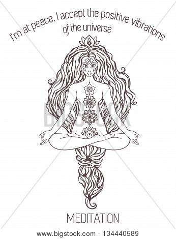 Ornament beautiful poster with Vector yoga. Geometric element hand drawn. Balance karma medallion yoga india arabic harmony physical exercise for web sites banners, business cards clothing logo