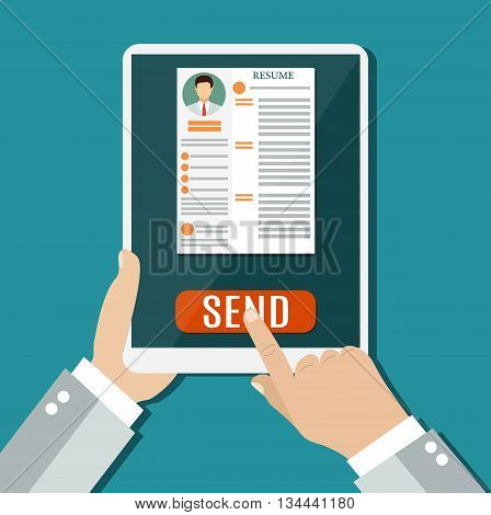 Business man hold tablet with resume and send. Recruitment, concept of human resources management. CV application. vector illustration in flat design
