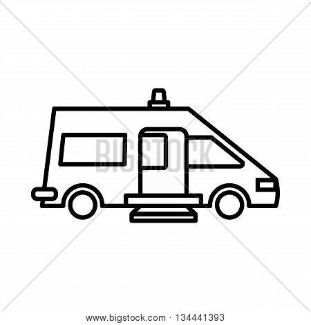 Ambulance icon in outline style isolated on white background