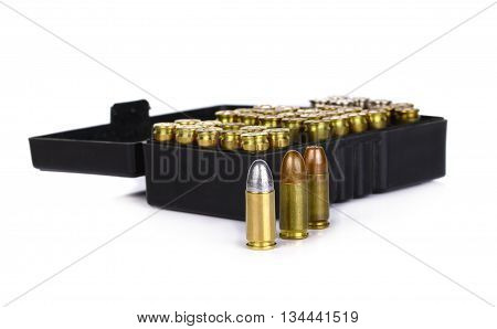 Bullet on white background gun weapon 9mm