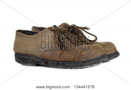Old shoes on white background footwear  brown