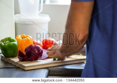 Mid section of man chopping vegetables at counter in kitchen