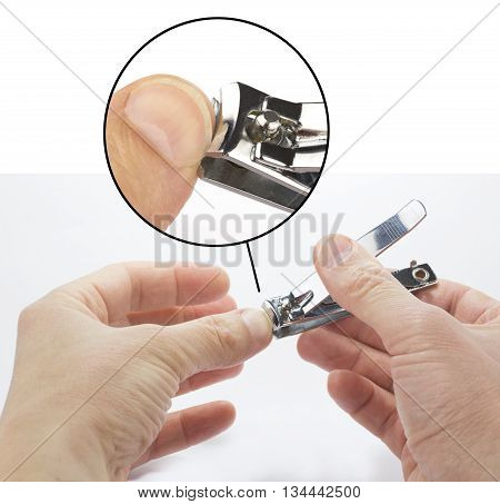 Nippers. Nail scissors and fingers on a white background.